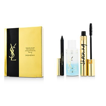 Yves Saint Laurent Mascara Volume Effet Faux Cils Shocking Set: (1x Mascara 6.4ml/0.2oz, 1x Waterproof Eye Pencil 0.8g/0.028oz, 1x Eye Make Up Remover 30ml/1oz)  3pcs