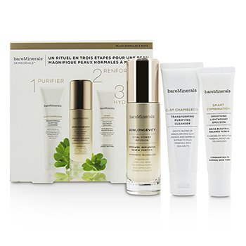BareMinerals Skinsorials 3-Part Ritual For Normal To Combination Skin: Clay Chameleon 50g + Skinlongevity 50ml + Smart Combination 30ml  3pcs