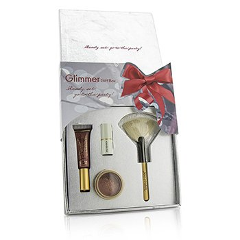 Jane Iredale Zestaw The Glimmer Gift Box: 1x PureGloss Lip Gloss, 1x 24 Karat Gold Dust Shimmer Powder, 1x Mini Just Kissed Lip & Cheek Stain, 1x White Fan Brush (Travel Size)  4pcs