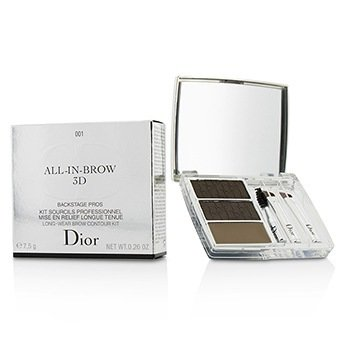 Christian Dior All In Brow 3D Long Wear Brow Contour Kit (2x Eyebrow Powder, 1x Eyebrow Wax, 3x Mini Applicator) - # 001 Brown  7.5g/0.26oz
