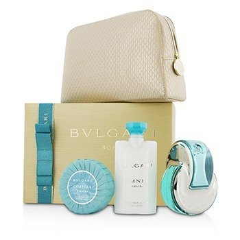 ブルガリ Omnia Paraiba Coffret: Eau De Toilette Spray 65ml/2.2oz + Body Lotion 75ml/2.5oz + Soap 75g/2.6oz + Pouch  3pcs+1pouch