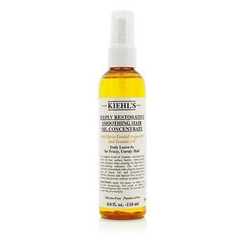 Kiehl's Deeply Restorative Smoothing Hair Oil Concentrate (Daily Leave-In for Frizzy, Unruly Hair)  118ml/4oz