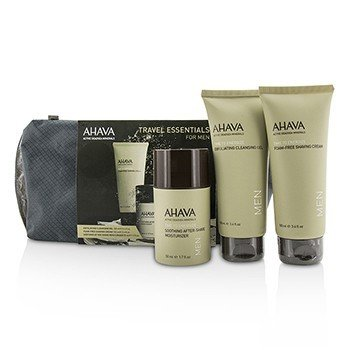 アハバ Travel Essentials For Men Set: Exfoliating Cleansing Gel 100ml + Shaving Cream 100ml + After-Shave Moisturizer 50ml  3pcs