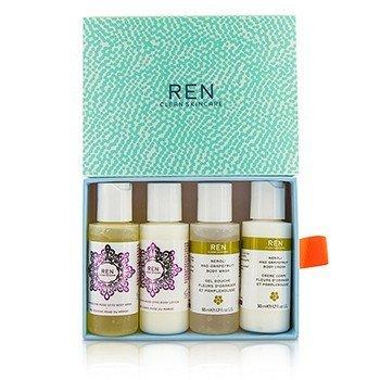 Ren Body Travel Kit: 2x Body Wash 50ml, 1x Body Lotion 50ml, 1x Body Cream 50ml  4pcs