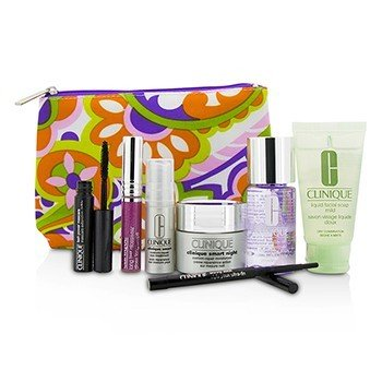 Clinique Travel Set: Make Up Remover+Liquid Facial Soap+Cream+Eye Treatment+Skinny Stick+Mascara+Lip Gloss+Bag  7pcs+1bag