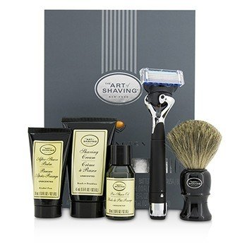 アートオブシェービング Lexington Collection Power Shave Set: Razor + Brush + Pre Shave Oil + Shaving Cream + After Shave Balm - Without Battery  5pcs