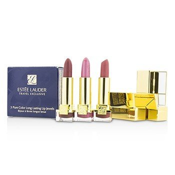 Estee Lauder Travel Exclusive 3 Pure Color Long Lasting Lip Jewels: 3x Mini Lipstick (#16 Candy, #23 Fig, #55 Blushing)  3x2.5g/0.08oz