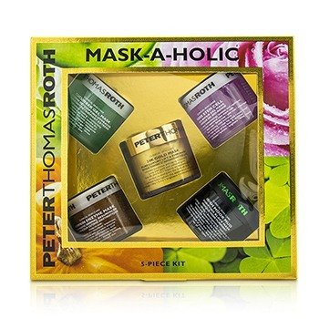 Peter Thomas Roth Mask-A-Holic Kit: Cucumber Gel Mask 50ml + Rose Stem Cell Bio-Repair Gel Mask 50ml + Pumpkin Enzyme Mask 50ml + Irish Moor Mud Purifying Black Mask 50ml + 24K Gold Mask 50ml  5x50ml/1.7oz