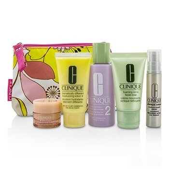 クリニーク Travel Set: Facial Soap 30ml + Lotion 2 60ml + DDML 30ml + Serum 10ml + All About Eyes 7ml + Bag  5pcs+1bag