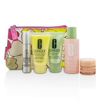 クリニーク Travel Set: Facial Soap 30ml + Lotion 3 60ml + DDMG 30ml + Serum 10ml + All About Eyes 7ml + Bag  5pcs+1bag