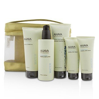 アハバ Deadsea Water Mineral Body Kit: Shower Gel + Body Exfoliator + Body Lotion + Hand Cream + Foot Cream + Gold Bag  5pcs+1bag