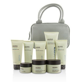 アハバ Essential Beauty Case: Body Exfoliator+Body Lotion+Cleanser+Facial Exfoliator+Mask+Day Cream+Night Cream+Eye Cream+Gray Bag  8pcs+1bag