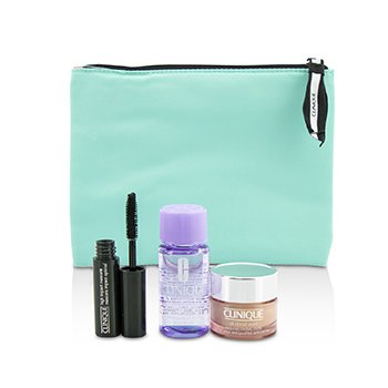 Clinique Set Travel: All About Eye 15ml + Maskara 3.5ml + Eye Makeup Remover 30ml+1Tas  3pcs+1bag