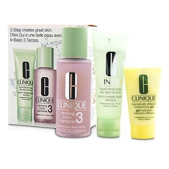 Clinique 3-Step Skin Care System (Tipe Kulit 3): Liquid Facial Soap Oily Skin Formula 50ml + Clarifying Lotion 3 100ml + DDMG 30ml  3pcs