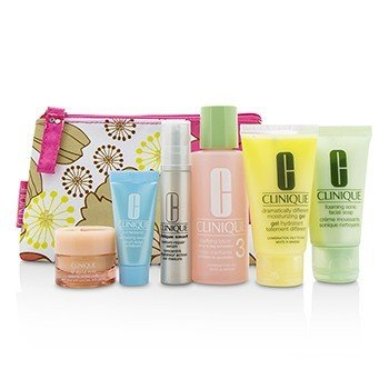 クリニーク Travel Set: Facial Soap 30ml+Lotion 3 60ml+DDMG 30ml+Smart Serum 10ml+Turnaround Serum 7ml+All About Eyes 7ml+Bag  6pcs+1bag
