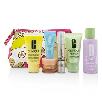 クリニーク Travel Set: Facial Soap 30ml+Lotion 2 60ml+DDML 30ml+Smart Serum 10ml+Turnaround Serum 7ml+All About Eyes 7ml+Bag  6pcs+1bag