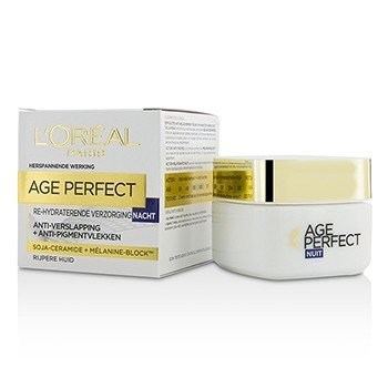 לוריאל Age Perfect Re-Hydrating Night Cream קרם לילה - לעור בוגר  50ml/1.7oz