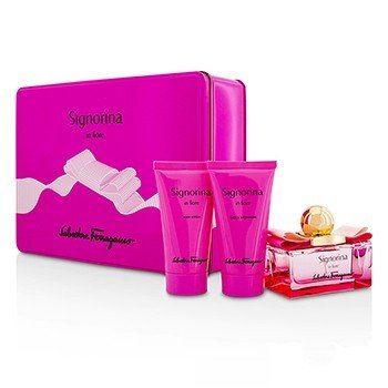 Salvatore Ferragamo Signorina In Fiore Coffret: Eau De Toilette Spray 50ml/1.7oz + Loción Corporal 50ml/1.7oz + Gel de Ducha 50ml/1.7oz  3pcs