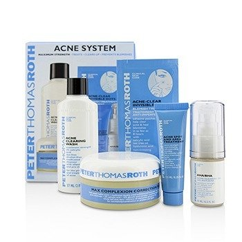 פיטר תומס רות' Acne System: Acne Clearing Wash 57ml + AHA/BHA Acne Clearing Gel 15ml + Acne Spot & Area Treatment 7.5ml + Acne-Clear Invisible Dots 12dots + Max Complexion Correction Pads 20pads  5pcs