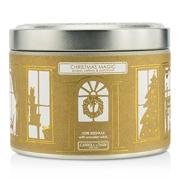 The Candle Company Tin Can 100% Beeswax Candle with Wooden Wick - Christmas Magic (Amber, Saffron & Patchouli)  (8x5) cm