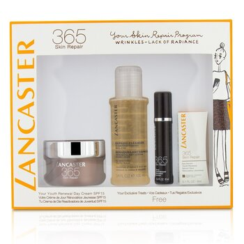 Lancaster Set 365 Skin Repair: Youth Renewal Crema de Día 50ml+ Suero Renovador de Juventud 10ml+ Suero de Ojos 3ml+ Limpiador Express 100ml  4pcs