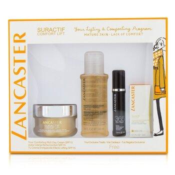 Lancaster Suractif Comfort Lift Rich Set: Rich Day Cream 50ml+ Serum Youth Renewal 10ml+ Lifting Eye Cream 3ml+ Express Cleanser 100ml  4pcs