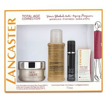 Lancaster Set Total Age Correction: Crema Anti-Envejecimiento de Día 50ml + Suero Renovador de Juventud 10ml + Retinol-En-Aceite 3ml + Limpiador Express 100ml  4pcs