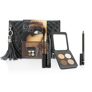 Youngblood Eye Trio Clutch Set (1x Eyeshadow Quad, 1x Eye Liner Pencil, 1x Mascara)  3pcs+1bag