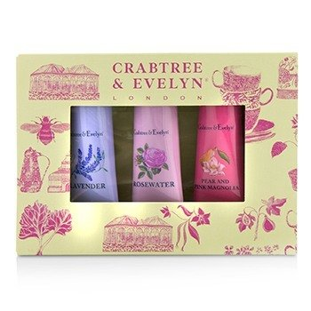 Crabtree & Evelyn Florals Hand Therapy Набор для Рук (1x Pear & Pink Magnolia, 1x Rosewater, 1x Lavender)  3x25g/0.9oz