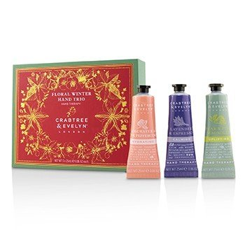 Crabtree & Evelyn Floral Winter Hand Trio (1x Lavender & Espresso, 1x Rosewater & Pink Peppercorn, 1x Pear & Pink Magnolia)  3x25ml/0.86oz