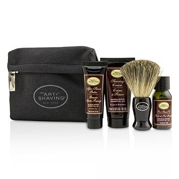 刮胡学问  Starter Kit - Sandalwood: Pre Shave Oil + Shaving Cream + After Shave Balm + Brush + Bag  4pcs + 1Bag