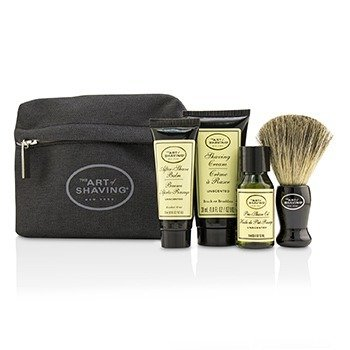 刮胡学问  Starter Kit - Unscented: Pre Shave Oil + Shaving Cream + After Shave Balm + Brush + Bag  4pcs + 1 Bag