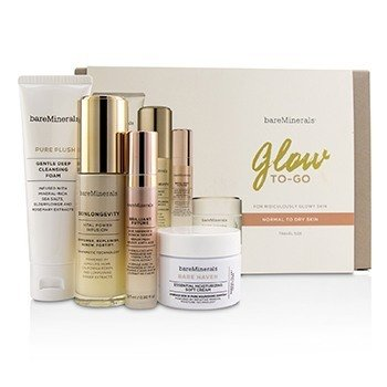 BareMinerals Glow To-Go Started Kit (Normal to Dry Skin): Pure Plush 50g+Skinlongevity 30ml+Brilliant Future 9.5m  4pcs