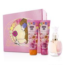 Anna Sui Secret Wish Fairy Dance szett: Eau De Toilette spray 50ml/1.7oz + testápoló lotion 90ml/3oz + tusolózselé 90ml/3oz (rózsaszín doboz)  3pcs