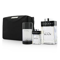 Bvlgari Man Coffret: Eau De Toilette Spray 100ml/3.4oz + Travel Spray 15ml/0.5oz + Deodorant Stick 75ml/2.7oz  + Travel Pouch  3pcs+pouch