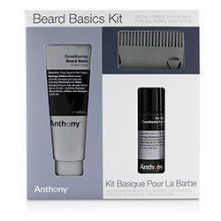 Anthony Beard Basics Kit: 1x Conditioning Beard Wash 177ml, 1x Pre-Shave + Conditioning Beard Oil 59ml, 1x Beard Comb  3pcs