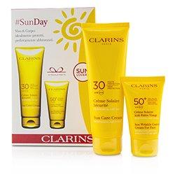 Clarins SunDay Set: Sun Care Cream High Protection SPF30 125ml + Sun Wrinkle Control Cream Very High Protection For Face SPF 50+ 30ml  2pcs