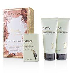Ahava Elements Of Love Mud-Rich Moments Gift Set: Hand Cream 100ml + Foot Cream 100ml + Purifying Mud Soap 100g  3pcs